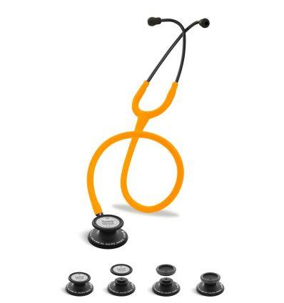 Stetoskop Internistyczno-Pediatryczny SPIRIT CK-SS601CPF Black Edition wszystko w jednym z pomarańczowym neonowym drenem