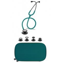 Stetoskop Internistyczno-Pediatryczny SPIRIT CK-SS601CPF Black Edition, zieleń morska w pakiecie wraz z etui do stetoskopu
